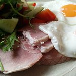 Perfect home-cooked ham with eggs and salad (My choice)