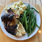 Even the food is beautiful - Original sauce with Green Beans & Potato Salad. YUM!