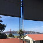 Stunning view of the Golden Gate Bridge from the museum windows.