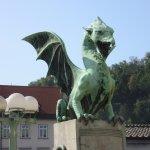 Dragon Statue On Dragon Bridge, Ljubljana