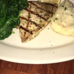 Swordfish special with garlic mash and spinach