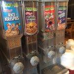 Cereal, milk, cold orange juice - no waffles!