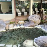 Heated recliners in the deluxe lake spa and alkaline mineral pool