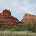 Bell Rock in foreground, Cathedral Butte behind