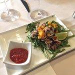Pan tossed squid in Mediterranean herbs, mango salsa & chilli jam