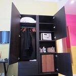 closet, safe, mini fridge.