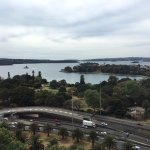 View of the Sydney harbor from the hotel room window
