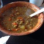 Lentil soup. Has a slight curry flavor.