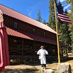 Bob, in front of lodge, prepares to head to hot springs pool