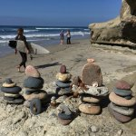 Rock art at Swami's Beach