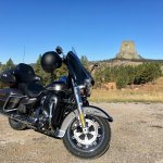 My Harley before the Tower.From Sundance take Hwy 24 + 110.There are some Viewpoints on the road