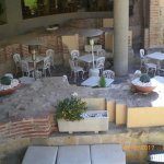 San Polo Hotel coutyard where you can dine if you wish or relax with a drink