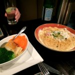 Spaghetti Carbonara and Vegetables (served with Veal Satimbocca)