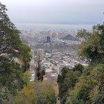 vista del Cerro San Cristobal al Cerro Santa Lucia, barrio Lastarria