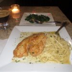 Tilapia with fresh linguine and a side order of spinach