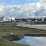 View from atop the Future of Flight looking towards Boeing factory