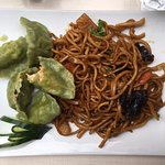 A wonderful noodle dish with potstickers at Ho Lomian