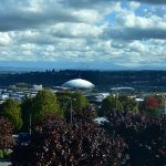 View from St Joseph's hospital room  and Best Western hotel to left of Tacoma Dome