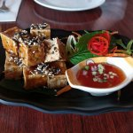 Deep fired tofu (the VERY hard version - not to our liking) with sesame seeds