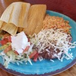 Tamale Plate with Rice and beans
