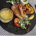 Scallops Saint Jacques/ gambas/ steak de thon tuna steak/ rice with safran/ garlic mayonnaise=aï