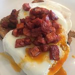 Eggs on toast with chorizo £5