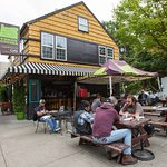 Patio seating during Portland's warmer months in the heart of Hillsdale (SW PDX)