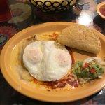 Chile Rellano with queso, taco, enchilada with eggs