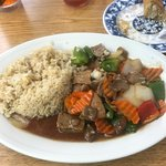 Fried rice, peppered steak