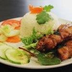 LEMONGRASS CHICKEN ON SKEWER WITH STEAM RICE
