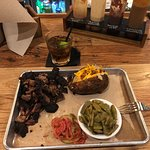 Burnt ends with loaded potato and green beans