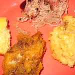 Pork, corn bread and corn pudding
