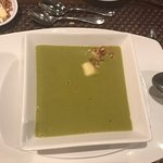 Crema de Cilantro soup. Very nice. Note apple pieces and nuts that worked well as quirky additio