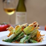 FLORES DE CALABACIN RELLENAS- STUFFED ZUCCHINI FLOWERS WITH MANCHEGO RICOTTA, HERBS, AND BRAVA S