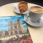 My coffee and croissant stop across