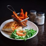 Tasty wrap with sweet potato fries