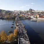 view from tower near Charles bridge
