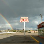 Day of rain creates a rainbow in front of the Roadrunner Cafe