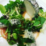 goats cheese salad with broad bean and quince jam