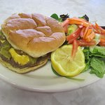 Wednesday's Special:   Green Chile, Cheese Burger served with French Fries of Toss Salad.