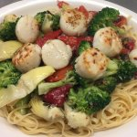 Scallops with Broccoli, Roasted Red Peppers and Artichoke Hearts