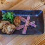 ham hock terrine w sourdough toast and a deep fried poached egg