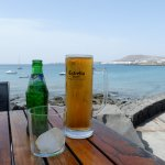 The view from a table at El Mirador looking out over the waves towards Playa Blanca
