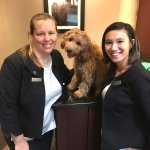 Andrea & Emma from the Front Desk with our puppy Izzie