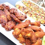 Wings and pizza.
