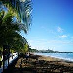 Jardin del hotel justo frente a la playa
