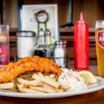 1 pc cod with home cut fries and coleslaw and a glass of local Red Arrow Ale
