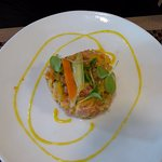 tartare de truite aux fruits, marinade passion