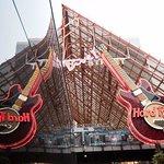 Hard Rock Cafe guitar reflection on BUSH's tour bus.