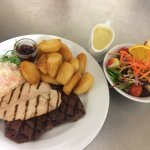 Sirloin Steak, Chicken Breast, Chunky Chips with homemade coleslaw and side salad